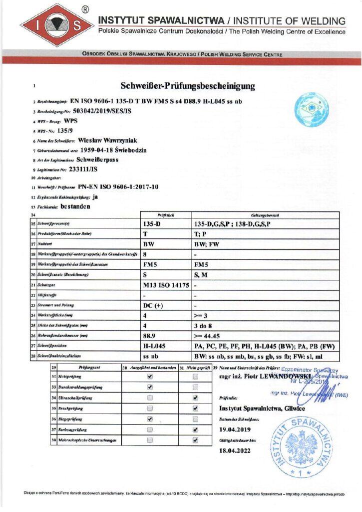 Schweisser Prüfungsbescheinigung MAG-Edelstahl