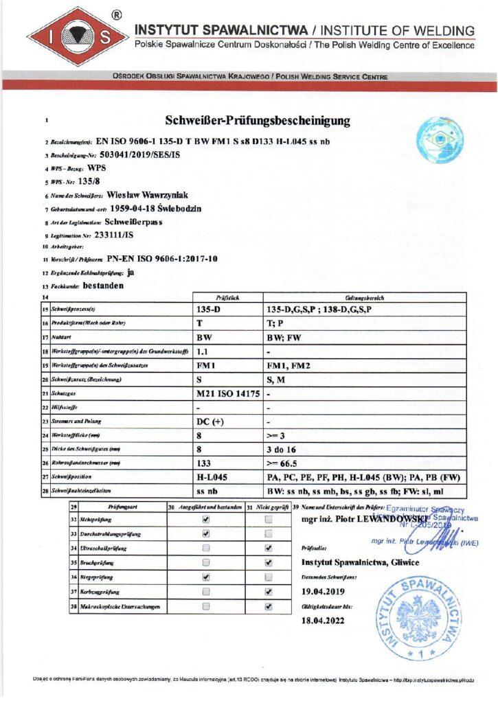 Schweisser Prüfungsbescheinigung MAG-Stahl