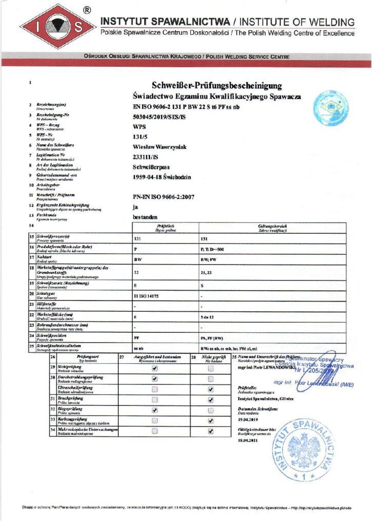 Schweisser Prüfungsbescheinigung MIG-Alu