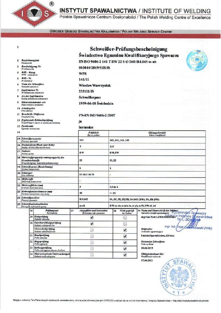 Schweisser-Prüfungsbescheinigung WIG-Alu