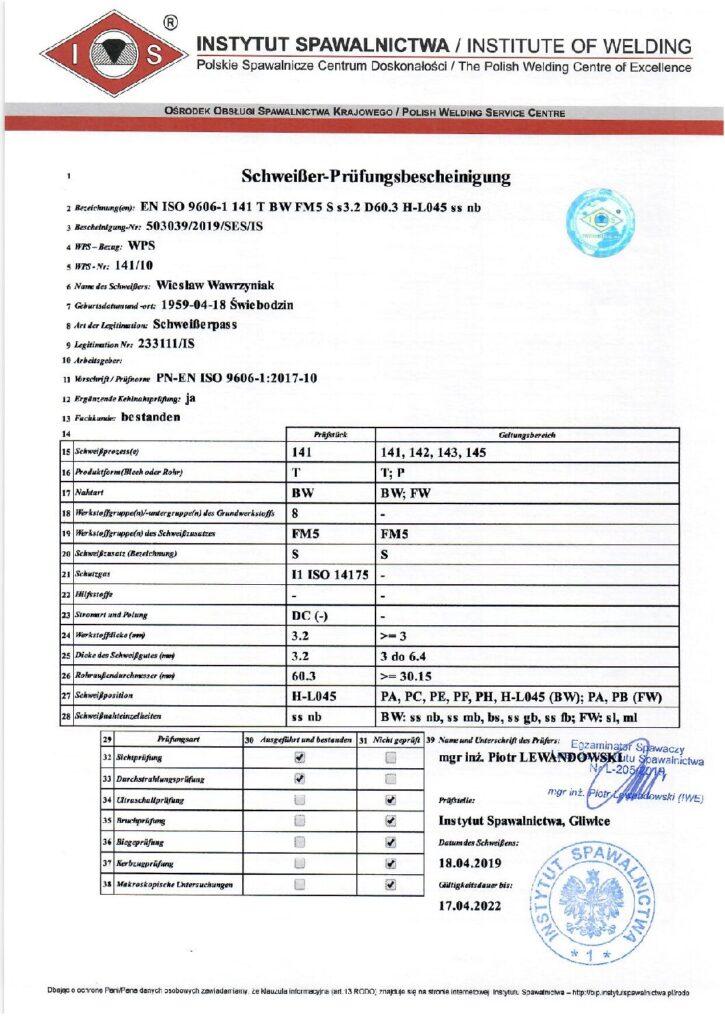 Schweisser Prüfungsbescheinigung WIG-Edelstahl