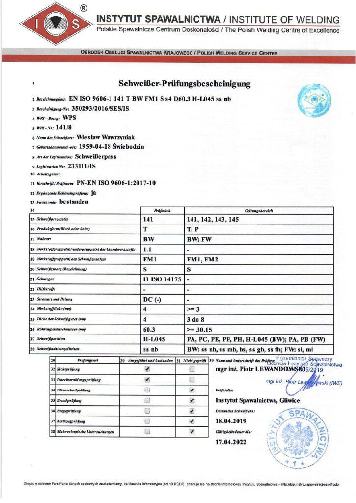 Schweisser Prüfungsbescheinigung WIG-Stahl