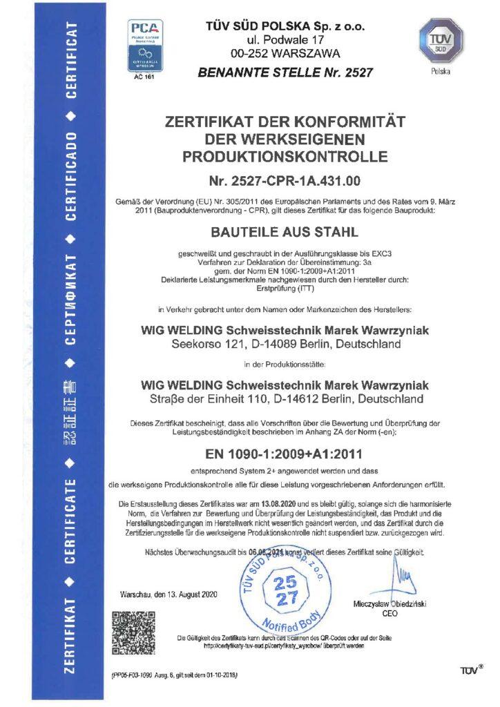 Zertifizierung gemäß DIN EN 1090 EXC3      für Fa. WIG-WELDING Schweisstechnik Berlin